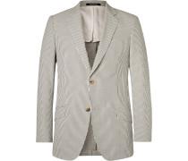 Grey Seishin Slim-fit Striped Cotton-seersucker Blazer