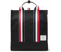 Striped Grosgrain-Trimmed Pebble-Grain Leather-Trimmed Canvas Tote Bag