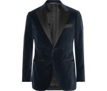 Grey Satin-trimmed Velvet Tuxedo Jacket