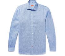 Slim-fit Satin-trimmed Slub Puppytooth Linen Shirt - Blue