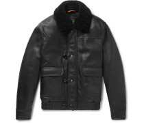 Shearling-trimmed Leather Aviator Jacket
