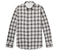 Checked Textured Cotton-blend Flannel Shirt - Gray