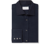 + Turnbull & Asser Navy Cotton-Corduroy Shirt