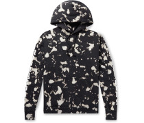 Logo-Print Bleached Loopback Cotton-Jersey Hoodie