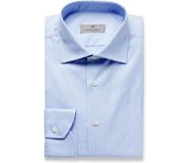 Light-Blue Cutaway-Collar Prince of Wales Checked Cotton-Poplin Shirt