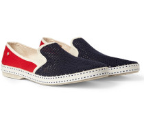 Cotton-mesh And Canvas Espadrilles - Red