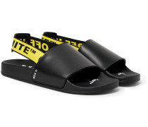 Printed Leather Slides - Black
