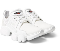 Jaw Neoprene, Suede, Leather And Mesh Sneakers - White