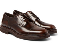 Burnished-leather Cap-toe Derby Shoes - Brown