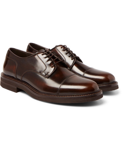 Burnished-leather Cap-toe Derby Shoes