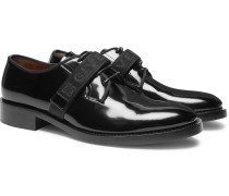 Cruz Logo-jacquard Patent-leather Derby Shoes - Black