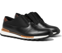 Fast Track Glazed-leather Sneakers - Black