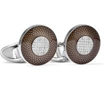 Sterling Silver, Enamel And Diamond Cufflinks