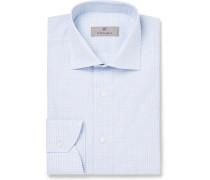 Light-blue Cutaway-collar Checked Cotton Shirt