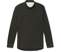 Mélange Brushed Cotton-Flannel Shirt