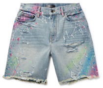 Thrasher Wide-leg Distressed Paint-splattered Denim Shorts - Light blue