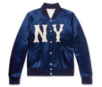 + New York Yankees Appliquéd Satin-twill Bomber Jacket