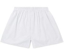 Printed Cotton Boxer Shorts - White