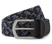 3.5 Navy Leather-Trimmed Woven Elastic Belt