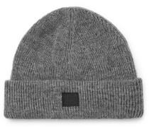 Logo-appliquéd Ribbed Wool-blend Beanie - Gray