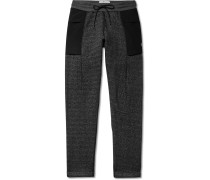 Panelled Fleece-Back Cotton-Blend Jersey Sweatpants