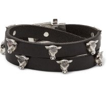 Leather And Silver-tone Wrap Bracelet - Black