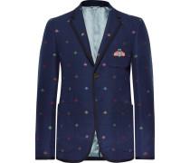 Navy Appliquéd Embroidered Cotton-piqué Blazer