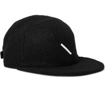 Embroidered Wool-blend Baseball Cap - Black