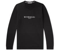 Distressed Logo-print Loopback Cotton-jersey Sweatshirt - Black