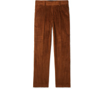 Tapered Cotton-corduroy Trousers - Brown
