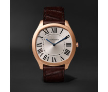 Drive de Cartier 18-Karat Pink Gold and Alligator Watch, Ref. No. CRWGNM0006