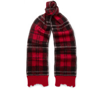 Checked Brushed Mohair-blend Scarf - Red