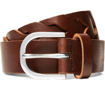 3cm Brown Woven Leather Belt - Brown