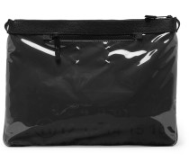 Printed Pvc And Full-grain Leather Pouch - Black