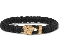 Woven Leather And Brass Bracelet - Black