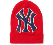 + New York Yankees Appliquéd Wool Beanie - Red