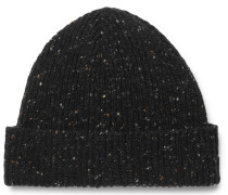 Ribbed Donegal Wool Beanie - Black