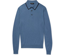 Contrast-tipped Wool And Silk-blend Polo Shirt