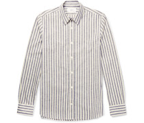 Slim-fit Striped Slub Cotton Shirt