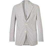 Grey Unstructured Striped Cotton-seersucker Suit Jacket - Gray