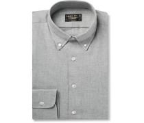 Slim-fit Herringbone Brushed-cotton Shirt - Gray