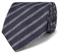 8cm Striped Silk-jacquard Tie - Midnight blue