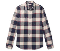 Wallace & Barnes Slim-fit Checked Cotton-flannel Shirt - Blue