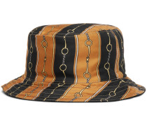 Reversible Velvet And Printed Twill Bucket Hat - Black
