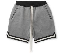 Wide-leg Mélange Cotton-blend Jersey Drawstring Shorts - Gray