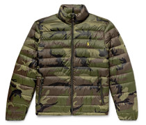 Camouflage-print Quilted Shell Down Jacket - Army green
