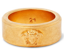 Logo-detailed Gold-tone And Enamel Ring - Gold