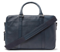 Leather Briefcase - Navy
