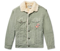 Oversized Faux Shearling-lined Embroidered  Stretch Cotton-corduroy Trucker Jacket