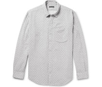 Polka-dot Double-faced Cotton-gauze Shirt